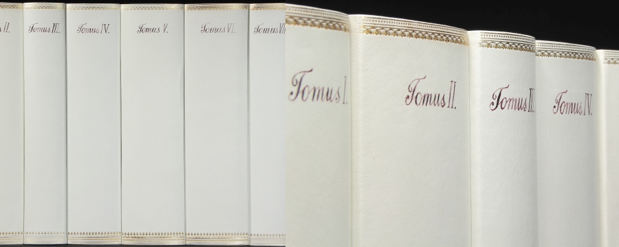 Replica Book Panels Vellum White Leather Book Spines
